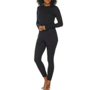 M AnyBody Black Waffle Cozy Knit PJs Pajama Set